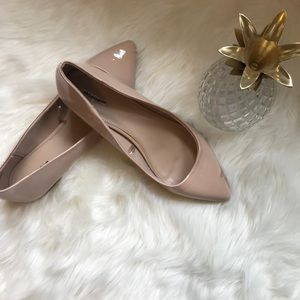 {Express} pointed toe tan/ nude ballet flats NWOT